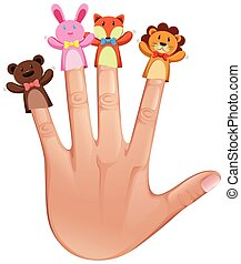 Four finger puppets on human hand illustration