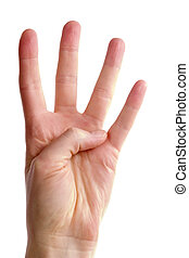 Four Fingers - A female hand holding four fingers up, with...