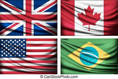 Four flags - UK, Canada, USA, Brazil.