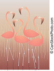 Four Flamingos Illustration: isolated on swamp background....