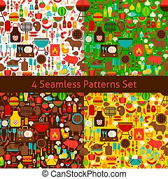 Four Flat Barbecue Patterns Set