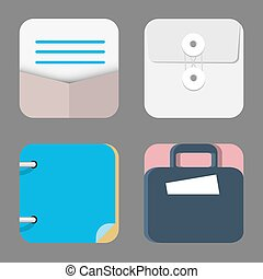 Four Flat Icons of web and mobile applications objects, business, office items