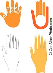 Four flat right hands in different styles.