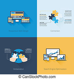 Four flat web design and business v