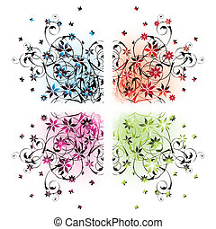 floral corners - four floral corners in different colors