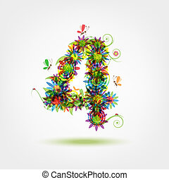 Four, floral number for your design