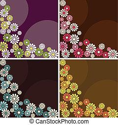 Four flowery retro backgrounds - Four 1960s/1970s retro...