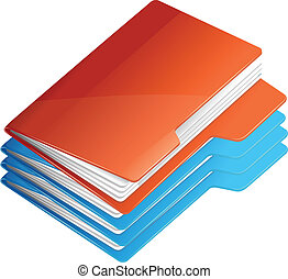 Four folders with paper. Folder stack