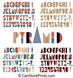 Four fonts, numbers and punctuation marks in retro style