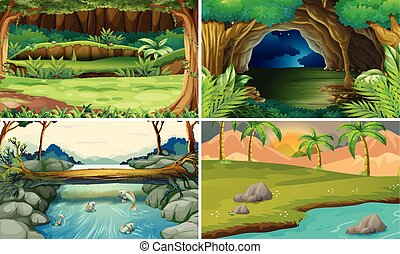 Four forest scenes with trees and rivers illustration