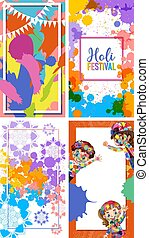 Four frame designs for holi festival in india with colorful background