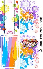 Four frame designs for Holi festival with colorful watercolor paints background
