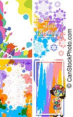 Four frames design for Holi festival with colorful painting background