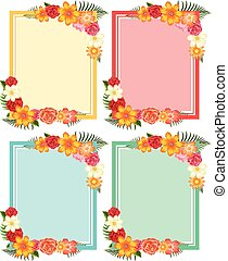 Four frames with colorful flowers