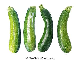 four fresh zucchini