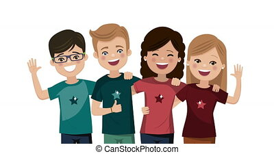 Four friends hugged together. Youth people animation. Happy boys and girls. Foreground video
