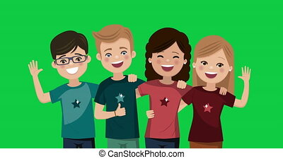 Four friends hugged together. Youth people animation. Happy boys and girls. Foreground video on green background