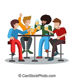 Four friends of a man drink foamy beer and raise a toast with glasses. A group of people sit on high bar stools and have fun spending time together. African American and 3 caucasians. Vector