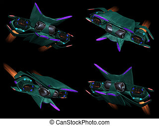 Four front views of an alien ship
