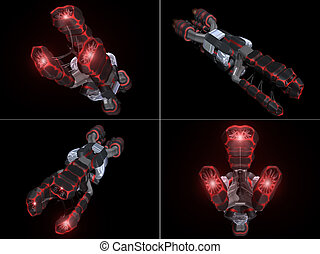 Four Front Views of Black and Red Space Ship