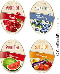 Four fruit, vegetables and berries labels. Vector.