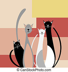 Four funny cats on abstract geometric background vector...