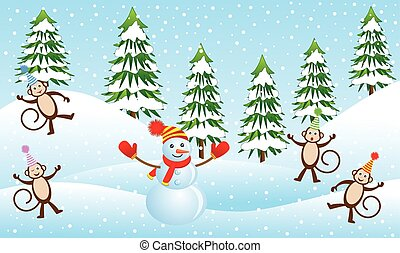 Four funny monkeys and snowman in a winter forest