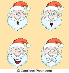 Four funny Santa Claus heads - set.