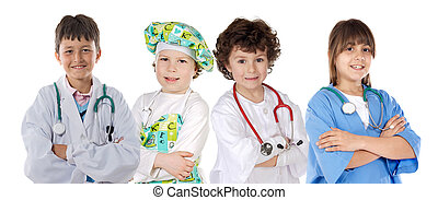 Four future workers on a over white background