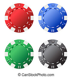 Four gambling chips (red, blue, green, black) for your...