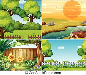 Four garden scenes with trees  illustration