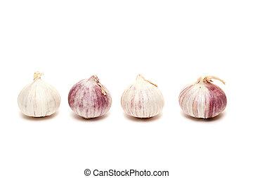 four garlics in a row