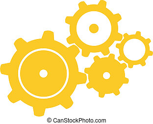 Four Gears - Vector illustration of four orange gears