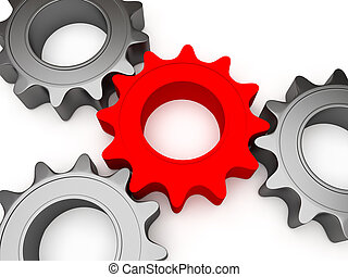 Four gears - 3d gears connected together, the central color...