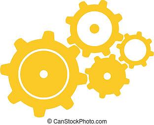 Vector illustration of four orange gears