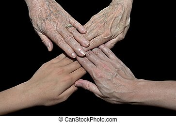 four generations of hands