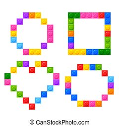 four geometric shapes made by plastic toy blocks