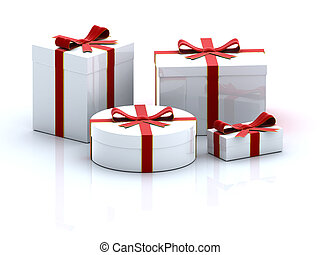 Four gift boxes - four white 3D gift boxes on white...