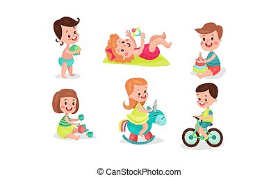 Four girls and two boys playing having fan with various toys. With ball, beanbag, pyramid, tea-set, bicycle and rocking horse. Set of six vector illistrations, isolated on white background.