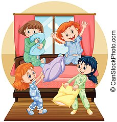Four girls playing pillow in bedroom