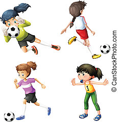 Four girls playing soccer - Illustration of the four girls...