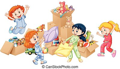 Four girls playing with toys