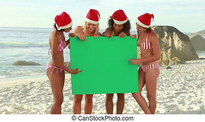 Four girls wearing christmas hats at the beach