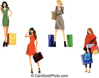 Four girls with bags