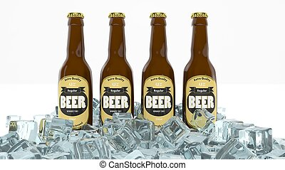 Four glass bottles of beer in ice isolated on white