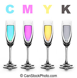 Four glasses with a different liquid on color. CMYK.