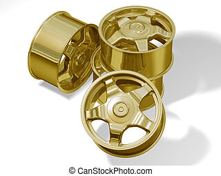 four golden big rims without brand - This is four golden big...