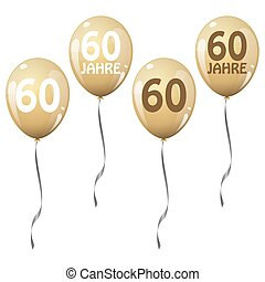 four golden jubilee balloons for 60 years
