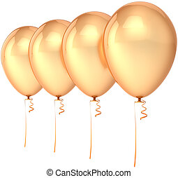 Four golden party balloons blank