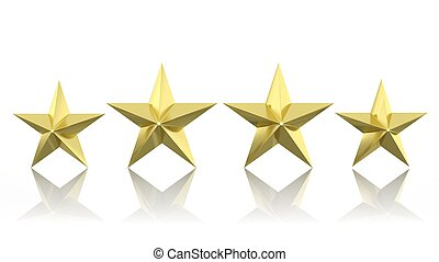 Four golden stars isolated on white background